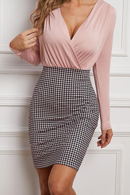 Houndstooth Patchwork V Neck Bodycon Dress
