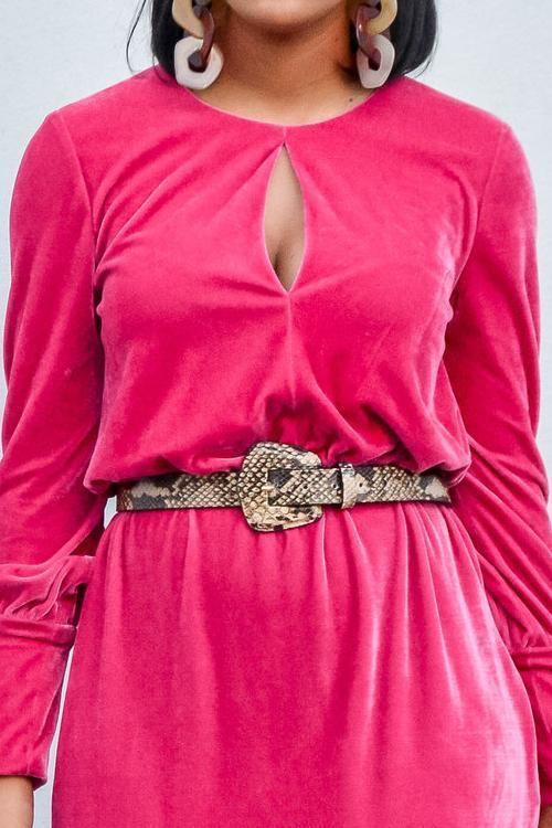 Snakeskin Geometric Buckle Belt
