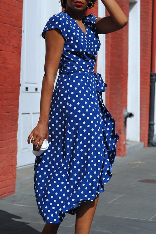 Dot Print Warp Maxi Dress