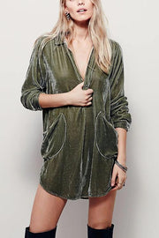 V Neck Pockets Velvet Shirt Dress