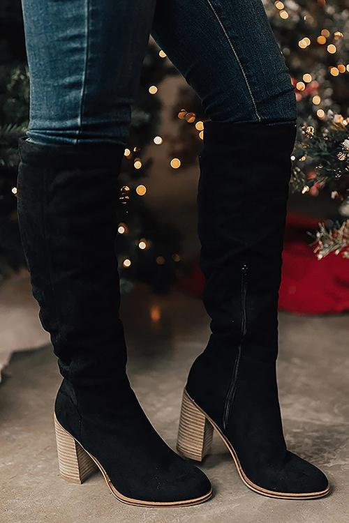 High Heels Zipper Knee Boots