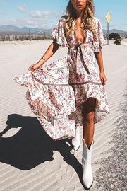 Floral Print V Neck Backless Maxi Dress