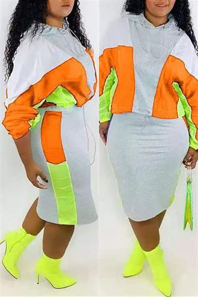 Color Block Drawstring Hoodie Skirts Set