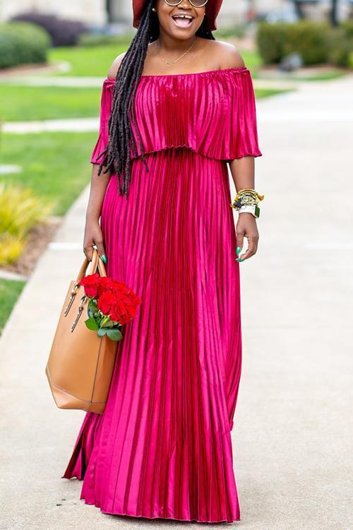 Off Shoulder Pleated Maxi Dress