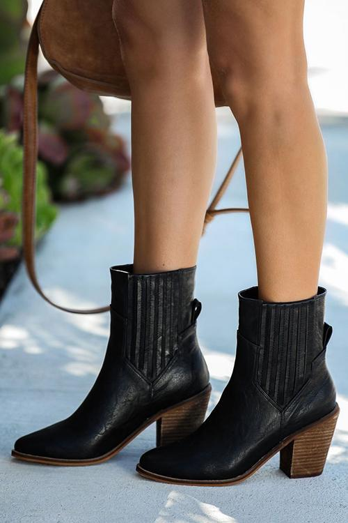 Simple Chunky Heels Ankle Boots