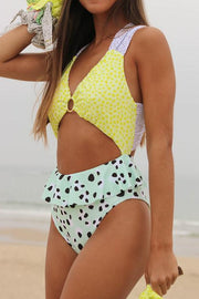 Floral Cut Out Ruffles One Piece Swimwear