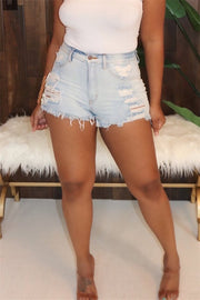 Mid Wash Hole Distressed Denim Shorts