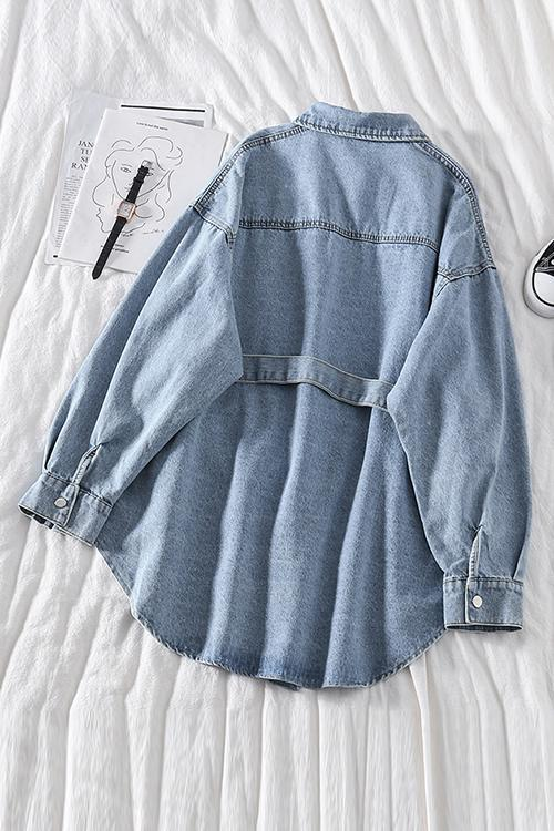 Button Denim Shirt With Belt