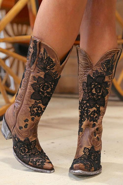 Embroidery Mid Heel Boots