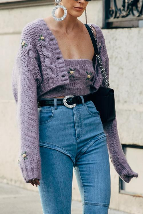 Embroidery Button Crop Cardigan