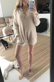 Pockets Button Sweater Romper