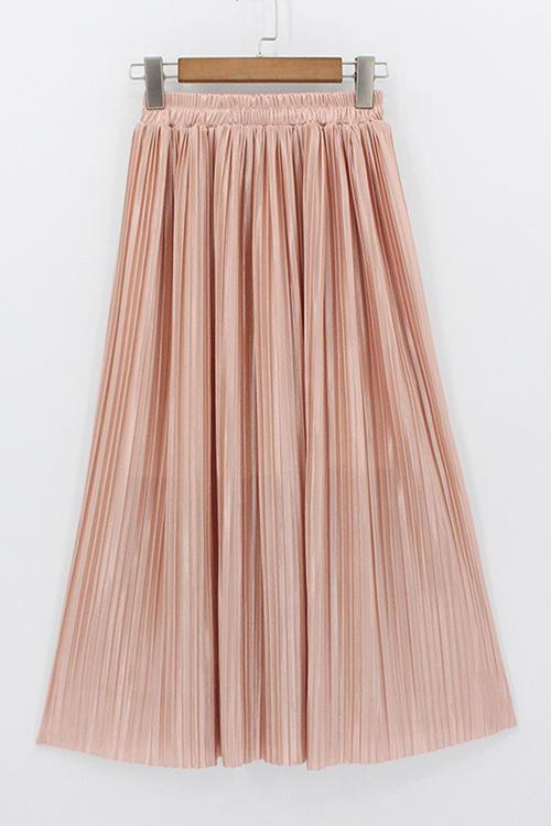 Metallic Pleated Maxi Skirts