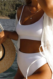 Solid High Waist Bikini Set