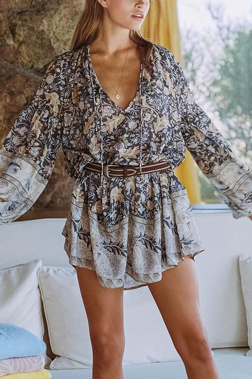 Floral Print V Neck Long Sleeve Mini Dress