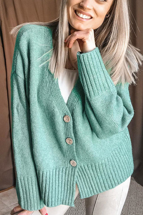 Button Puff Sleeve Cardigan