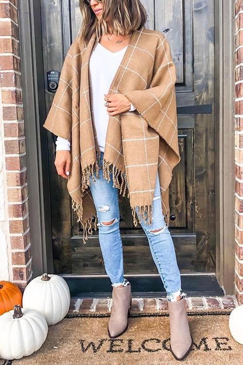 Plaid Tassels Shawl