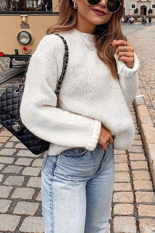 O Neck Long Sleeve Sweater