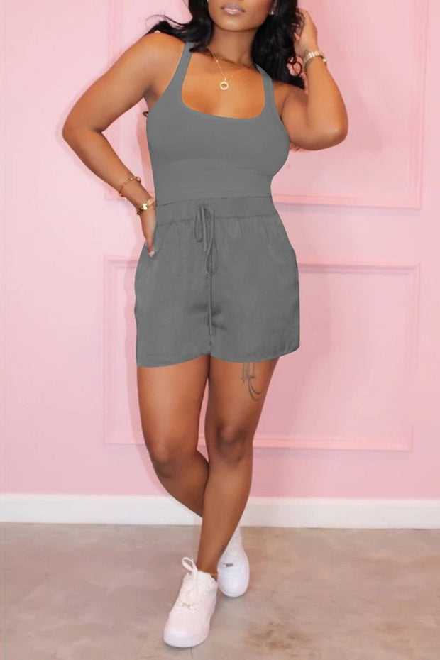 Scoop Neck Drawstring Tank Shorts Set