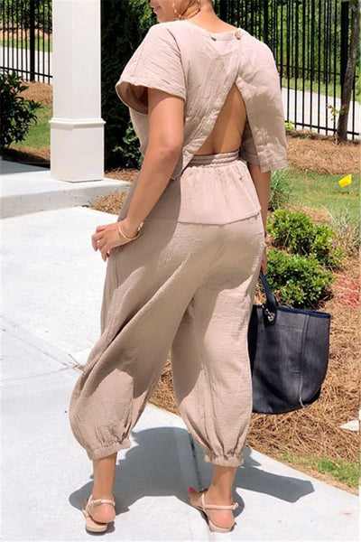 Slit Back Solid Drawstring Jumpsuit