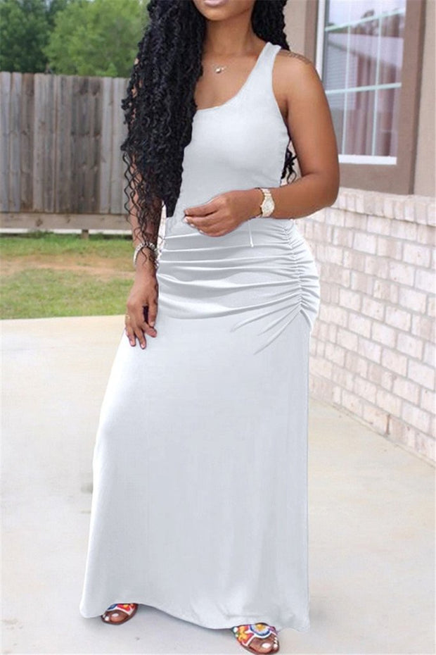 Solid Waist Pleated Sleeveless Maxi Dress