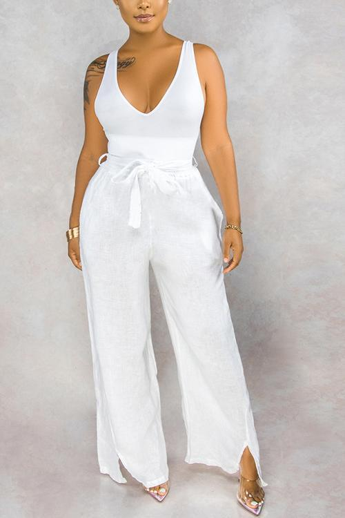 Solid Slit Hem Drawstring Waist Pants