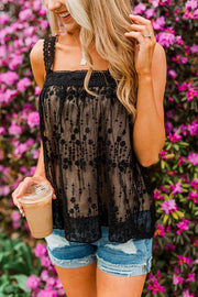 Lace Square Neck Sleeveless Top