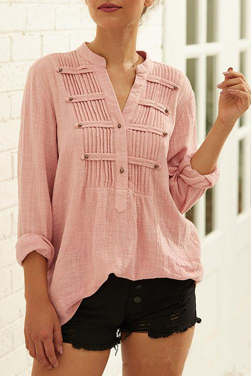 Pleated Buttoned Long Sleeves Blouses