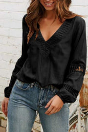 Hollow V Neck Puff Sleeve Blouse