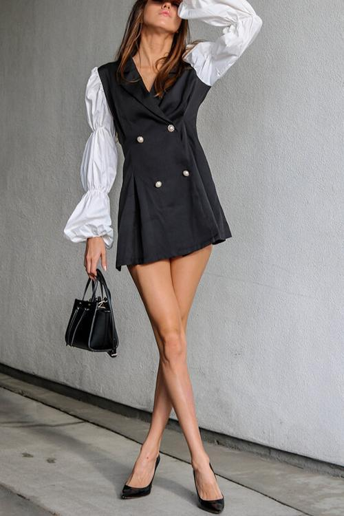 Double-breasted Puff Sleeve Blazer Dress
