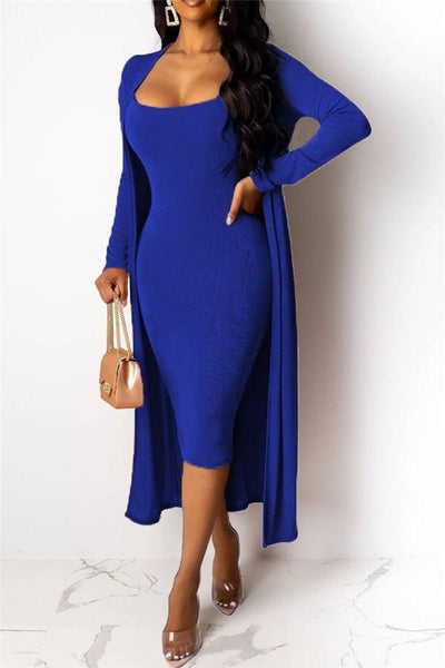 Velvet Slip Bodycon Dress With Coat