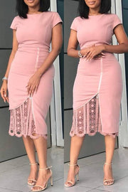 O Neck Lace Zipper Dress
