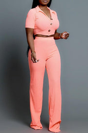 Button Short Sleeve Crop Pants Set