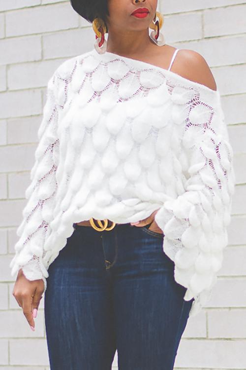 Leaf Hollow One Shoulder Sweater