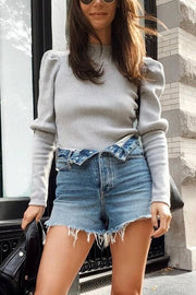 Button Denim Shorts