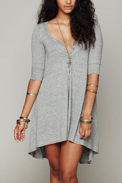 Button High Low T Shirt Dress