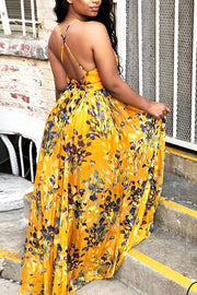 V Neck Backless Slip Maxi Dress