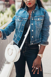 Turndown Collar Denim Jacket