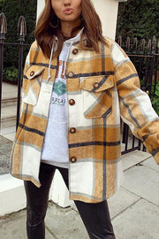 Plaid Button Pockets Coat