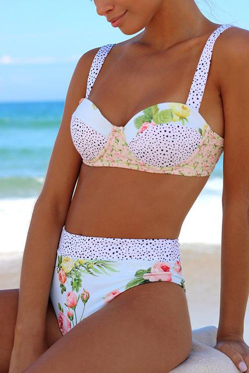 Floral Print High Waist Bikini Set