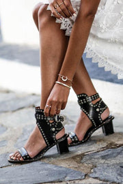 Open Toe Rivet Chunky Heeled Sandals