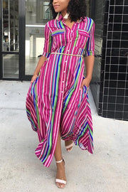 Button Pocket Colorful Shirt Maxi Dress