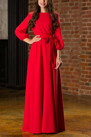 Puff Long Sleeve Belted Maxi Dress