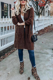 Pocket Knitting Long Coat