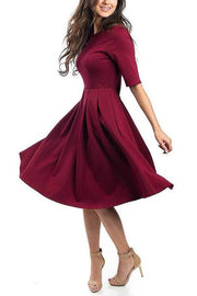 Half Sleeve Pockets Swing Dress