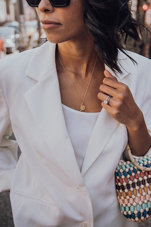 White Button Lapel Blazer