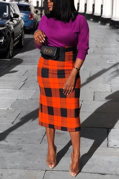 Plaid Bodycon Skirts