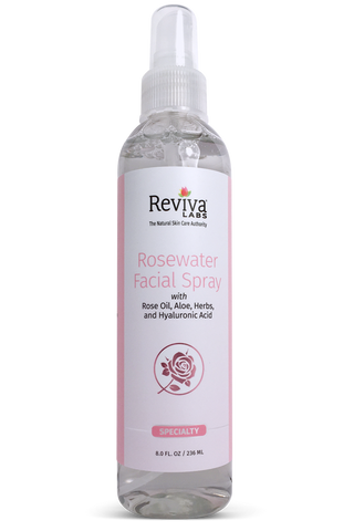 Reviva Labs Rosewater Facial Spray (plastic pump bottle), 8 oz.
