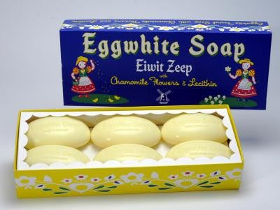 Eiwit Zeep Eggwhite and Chamomile Flower Facial Soap, 52 gm, ONLINE ORDERS: SOLD ONLY IN BOXES OF SIX SOAPS FOR $23.70