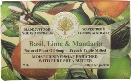 Wavertree & London Basil, Lime & Mandarin Bar Soap, 200 gm