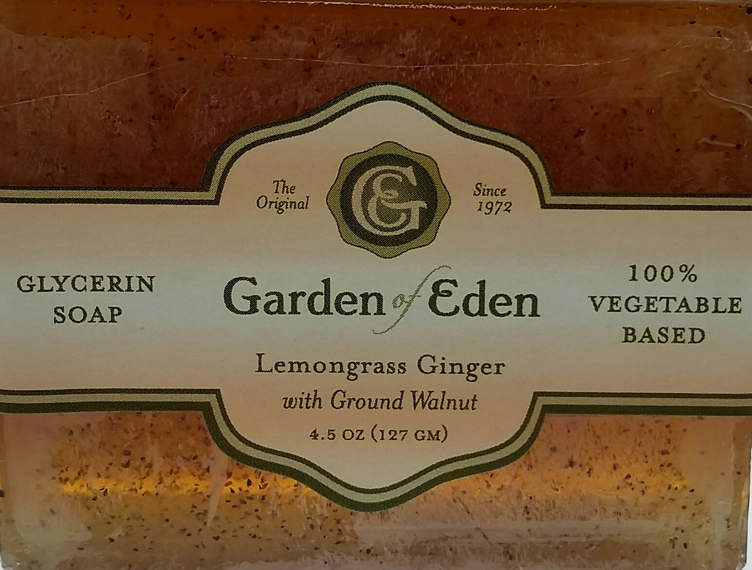Garden of Eden Glycerin Soap - Lemongrass Ginger with Ground Walnut Bar